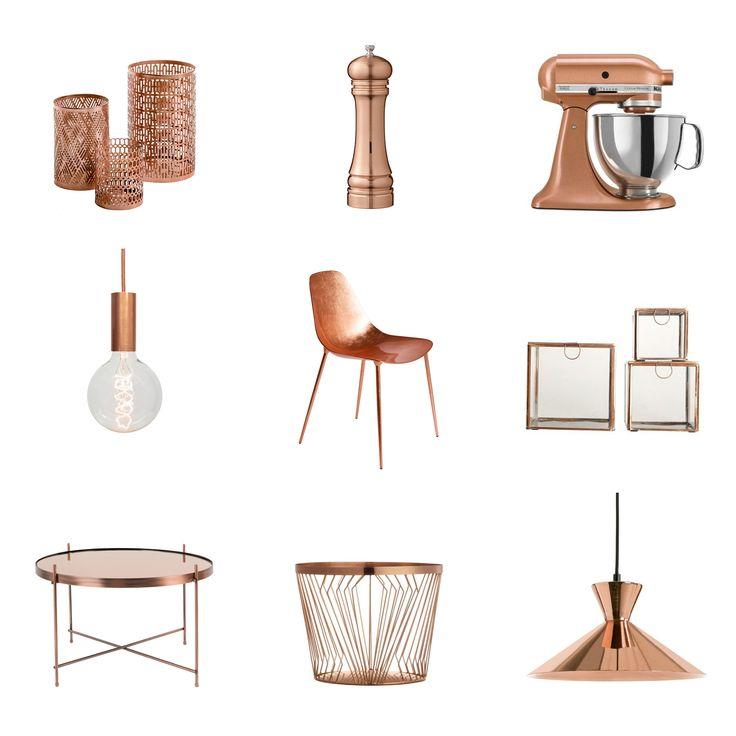 sélection déco en cuivre - copper moodboard shopping selection - www.pierrepapierciseaux.be