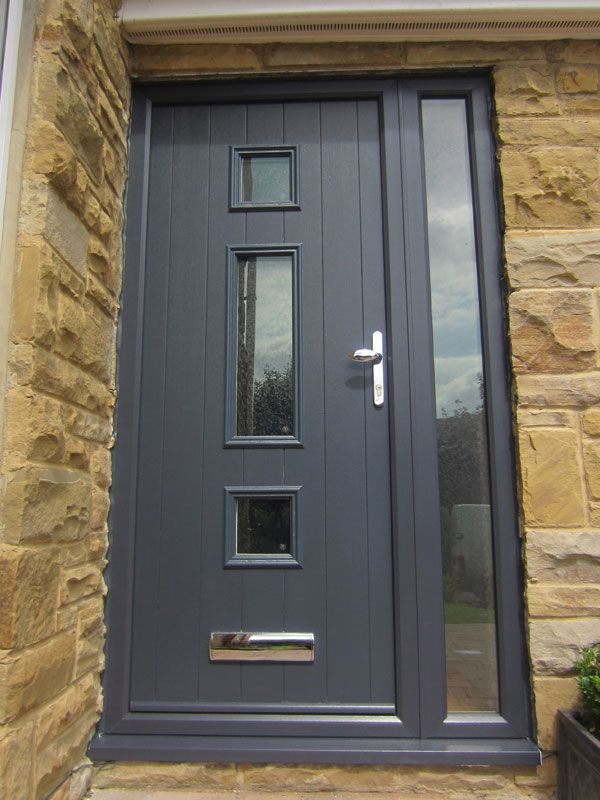 Grey modern front door upvc oku grey front doors - Upvc double front exterior doors ...