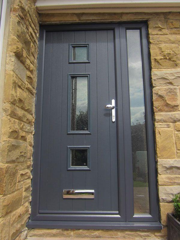 Grey modern front door upvc