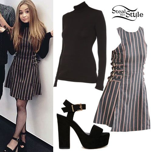 Sabrina Carpenter visited the Teen Vogue offices on Friday wearing the J.O.A. Striped Side-Buckle Dress ($102.00) from Urban Outfitters layered over the BCBGMAXAZRIA Women's Brynne Turtleneck Top ($20.54+) and a pair of ASOS Highlight Wide Fit Heeled Sandals ($48.00, sold out).