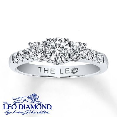 My GLORIOUS engagement ring <3  Past, Present & Future 3-Stone Leo Diamond Ring 1 ct tw Diamonds 14K White Gold