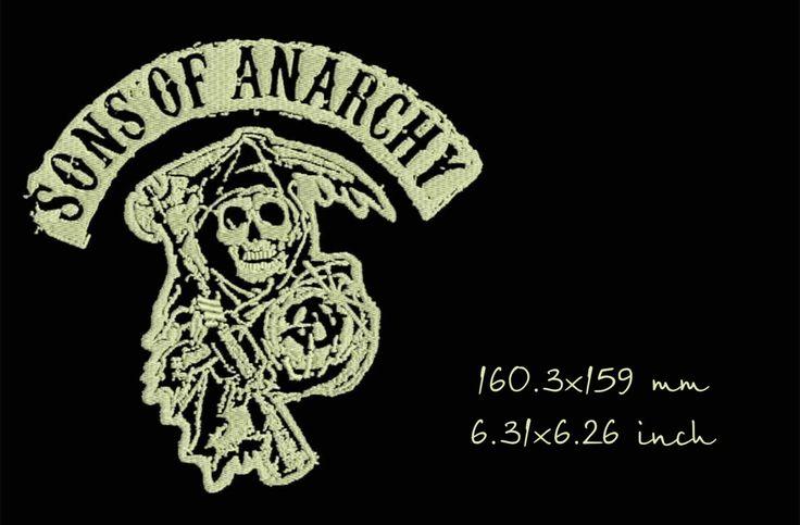 Сыновья анархии, череп, смерть, дизайн машинной вышивки, моментальное скачивание by Tamarladesign on Etsy