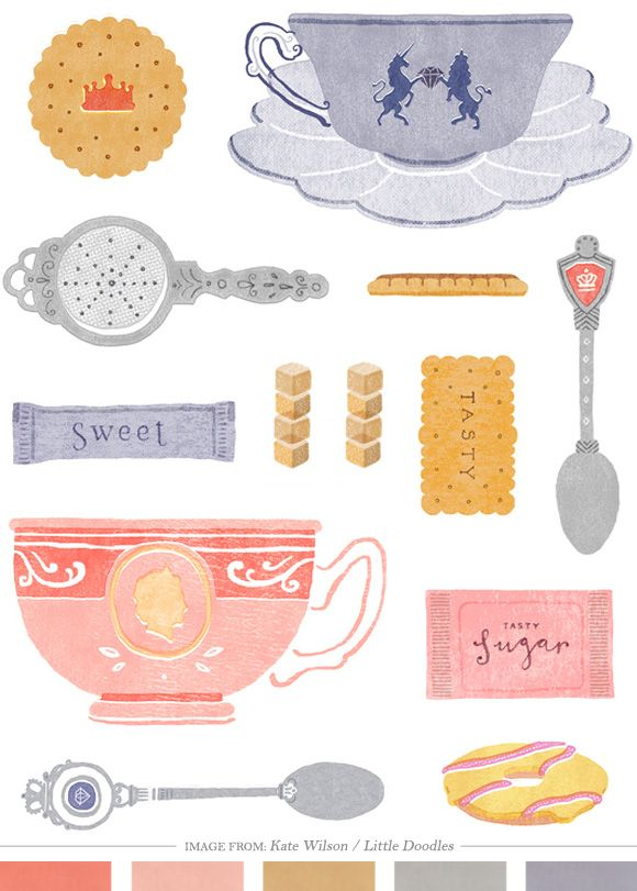 Jubliee Tea Illustration by Kate Wilson of Little Doodles via the blog Creature Comforts