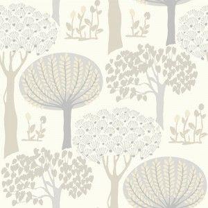 Arthouse Bernwood Trees Forest Wallpaper in Cream - 416504