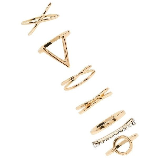 Forever21 Geo Ring Set ($5.90) ❤ liked on Polyvore featuring jewelry, rings, gold, yellow gold jewelry, set rings, geometric jewelry, forever 21 and gold ring