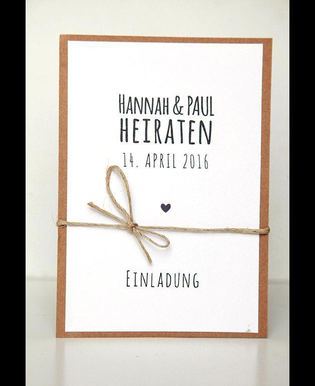 **Musterkarte für das unten beschriebene Einladungsset Hannah & Paul**  10er Einladungs- oder Danksagungskarten-Set für Eure Hochzeit  Das Set besteht aus:  - 10 unbedruckten...