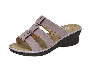 Reneeze APEX-1 Women Slip-On Wedge Sandals - Light Purple Reneeze. $14.95. synthetic. Open toe, slip-on design with synthetic PU leather upper.. Approximately 2-inch wedge heel.. Approximately 1-inch platform.. Ortholite-like footbed provides added cushioning to ensure the ultimate in comfort, with patterns imprint.