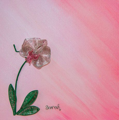 Wire Art on canvas from ButterflyOnBlue: Detailed pink and silver wire orchid on a painted background by Sarah Jansma