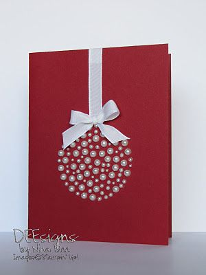 cute card using pearl embellishments