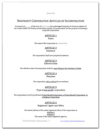 Free Articles Of Incorporation Template For You To Use