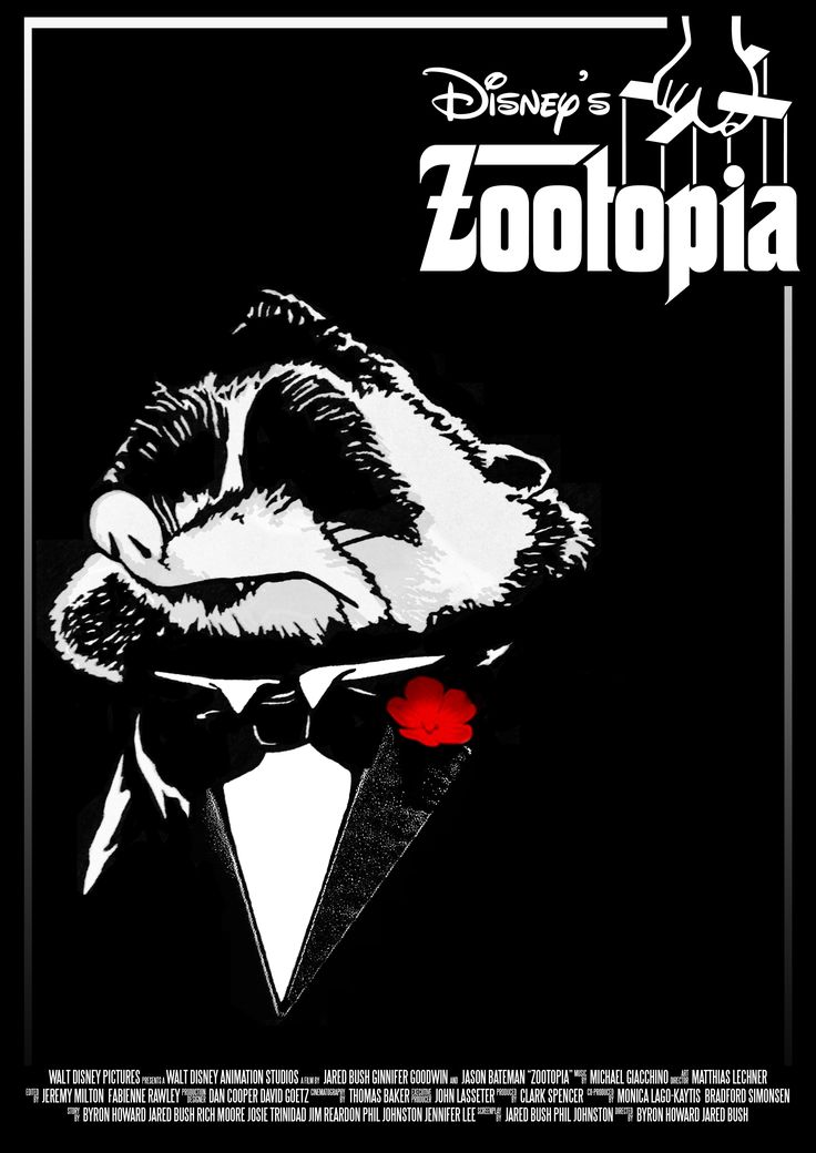 Disney's Zootopia (2016)  Alternative poster design for Disney's Zootopia (2016) animated feature film. Artwork depicting the character Mr. Big. Layout and typography influenced by Mario Puzo's The Godfather (1972) poster art of Don Corleone, portrayed by Marlon Brando. (Hand drawn then digitally inked.)