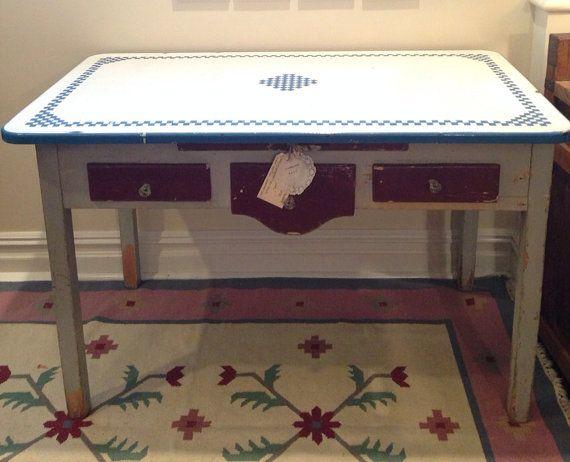 Antique Enamel Top Table Kitchen Island Bread Box