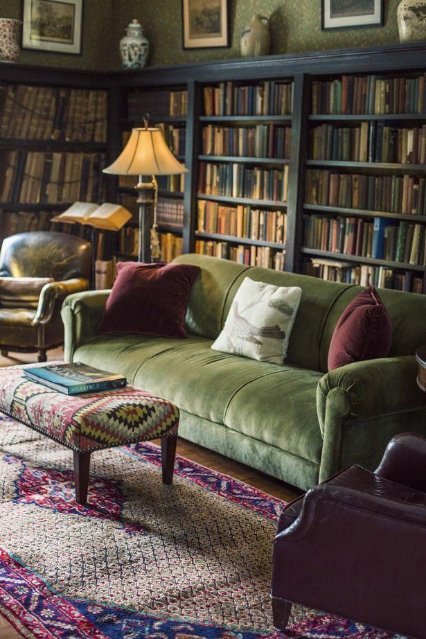 Vintage green velvet sofa surrounded by books :)