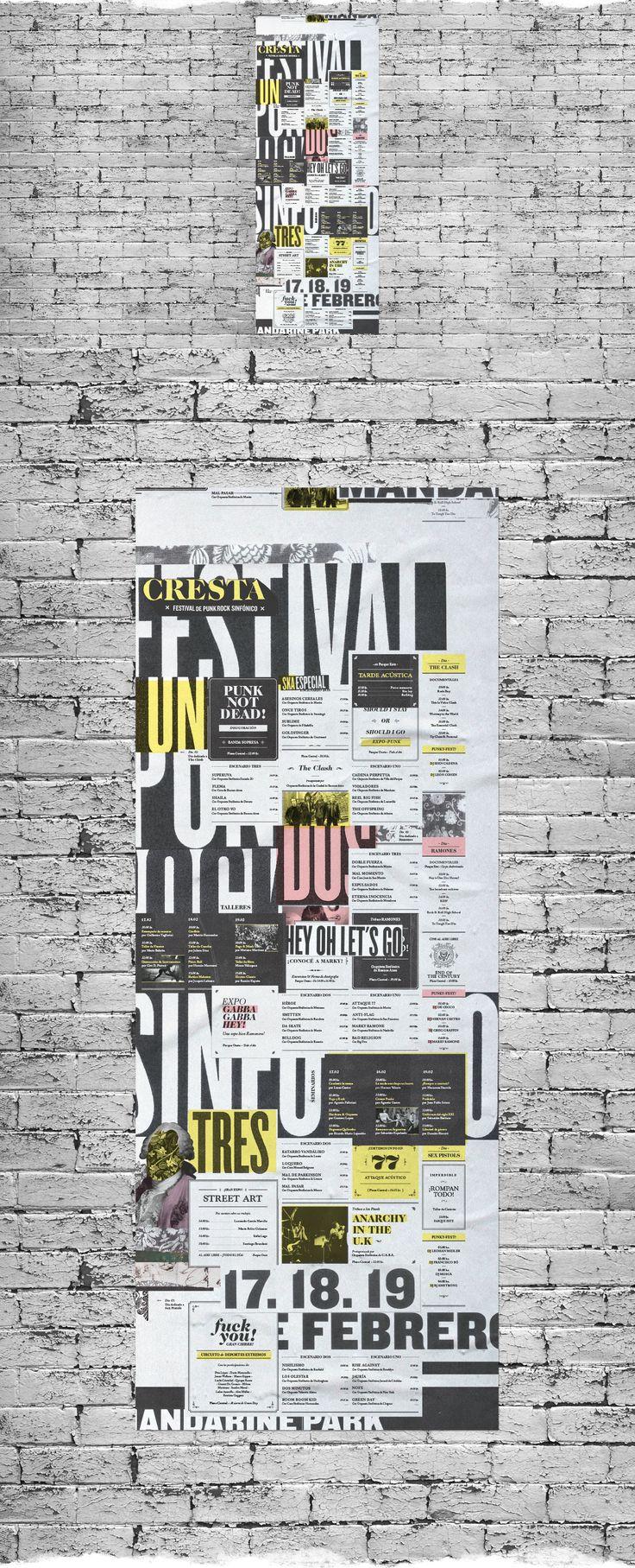 Propuesta y desarrollo gráfico de identidad de Cresta - Festival de Punk-Rock Sinfónico.Piezas desarrolladas: Marca, Afiches, Arquigrafía, Programa, Merchandising, Papelería y Sitio web.Diseño gráfico III, Cátedra Gabriele. FADU. UBA. Año 2014.