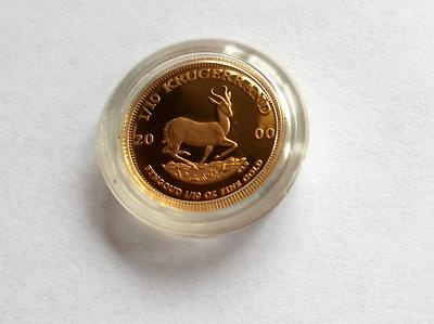 2000 1/10 oz Gold Proof South African Krugerrand Coin in Plastic Capsule