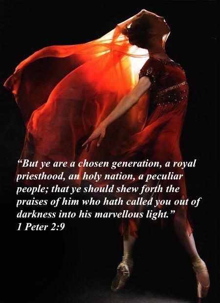 """""""But ye are a chosen generation, a royal priesthood, an holy nation, a peculiar people; that ye should shew forth the praises of him who hath called you out of darkness into his marvellous light."""" (1 Peter 2:9)"""