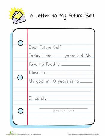letter to my future self writing worksheets preschool letter to future self