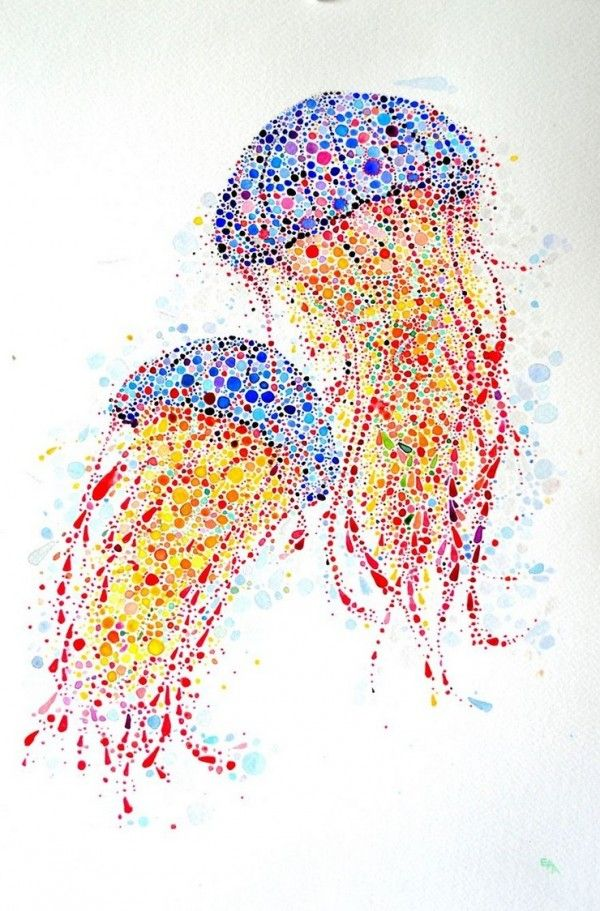 Animal paintings made from hundreds of colored dots