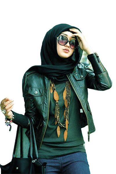 stylish green outfit, hijab