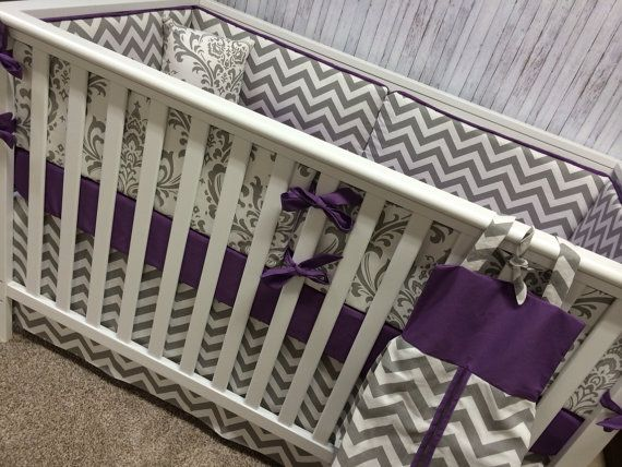 Baby bedding Crib Bedding Cot Set Mini Crib Crib Set-bumpers/sheet/adjustable skirt-Gray Damask and Purple with Chevron on Etsy, $275.00