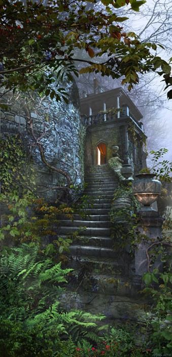 """Castle steps in mist, this reminds me of a book I read recently by Carlos Ruiz Zafón """"The Watcher in the Shadows"""". Wonderful book, like everything by that author."""