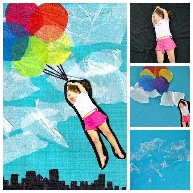 Create a whole new world!  Take picture of posed child with camera and cut out.  Add to scene created with glued tissue paper.  Add details with markers when dry.