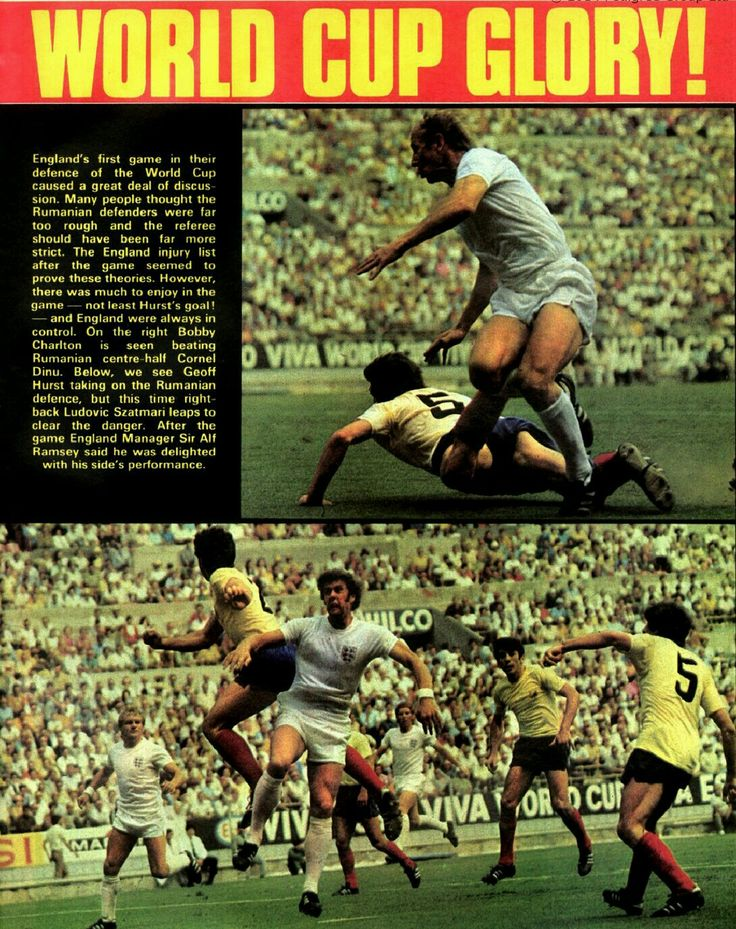England 1 Romania 0 in 1970 in Guadalajara. Action from the Group 3 game at the World Cup Finals.