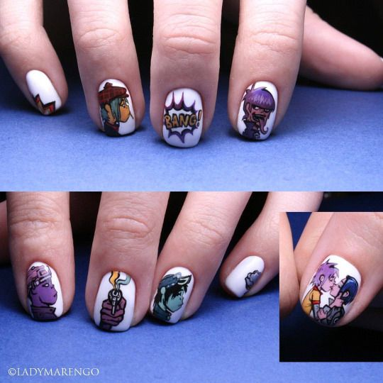 #Gorillaz Nails   #geeknails #ladymarengo #шеллак #гельлак #нейларт #ногти #маникюр #дизайнногтей #nailart #naildesign #nails #гориллаз