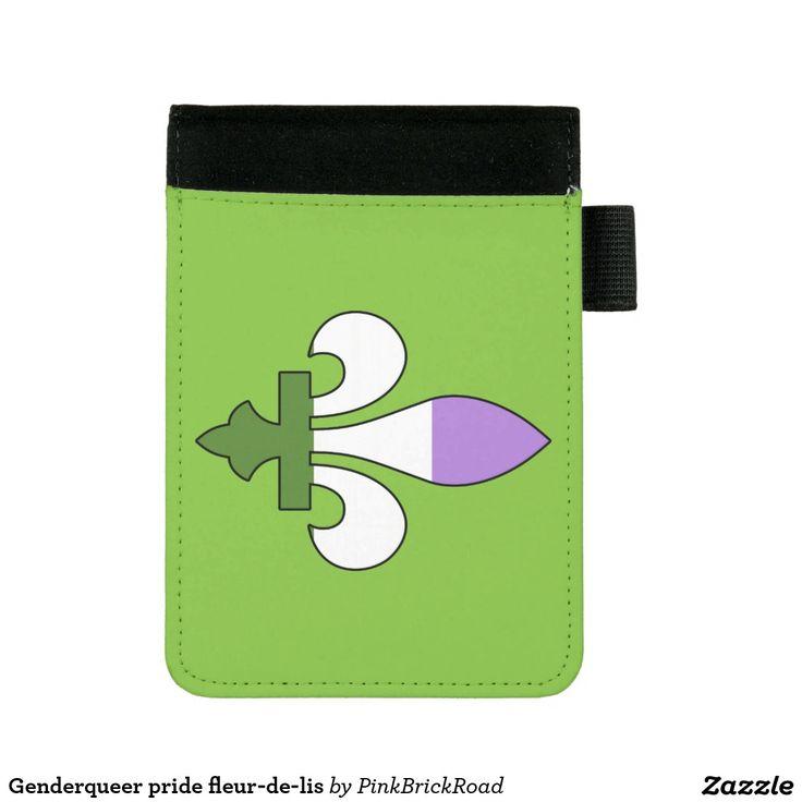 Genderqueer pride fleur-de-lis mini padfolio