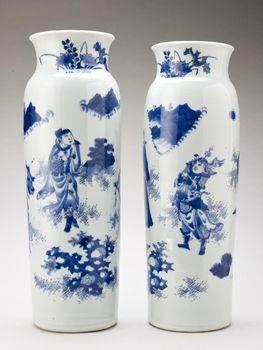 Jingdezhen [Jiangxi Province, China], Pair of 'rolwagen' vases 1640-50