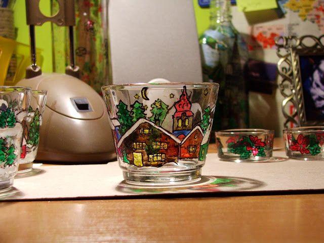 Świecznik szklany malowany, painted glass