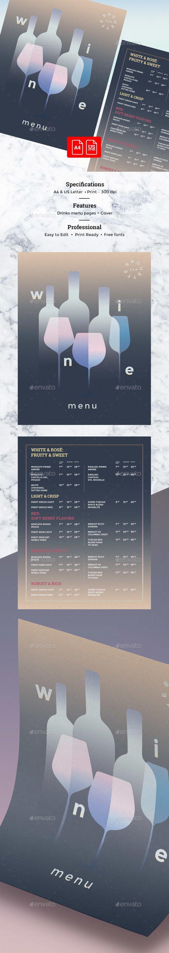 Wine Drinks Menu — Photoshop PSD #drinks menu #club • Available here → https://graphicriver.net/item/wine-drinks-menu/19807481?ref=pxcr