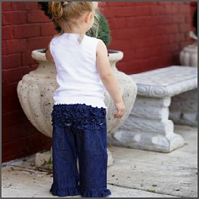 Denim Ruffle Crawler. Does your little cutie resist denim? These comfy ruffled pants are the perfect solution. Soft and comfy, while also durable, these ruffled crawlers are a must-have for every trendy tot! Made in hip dark blue denim with a stretchy elastic waistband, they're also machine washable.