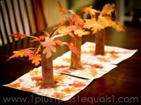 """Autumn tree..toilet tissue tube tree trunk, leaves collected on nature walk glued or taped to pipe cleaners inserted into """"tree trunk""""..so pretty!"""