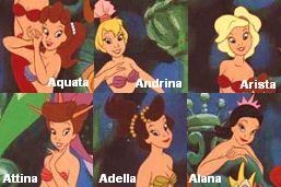 Ariel's sisters from the little mermaid. I'm pinning this for when I have six related things that need names.