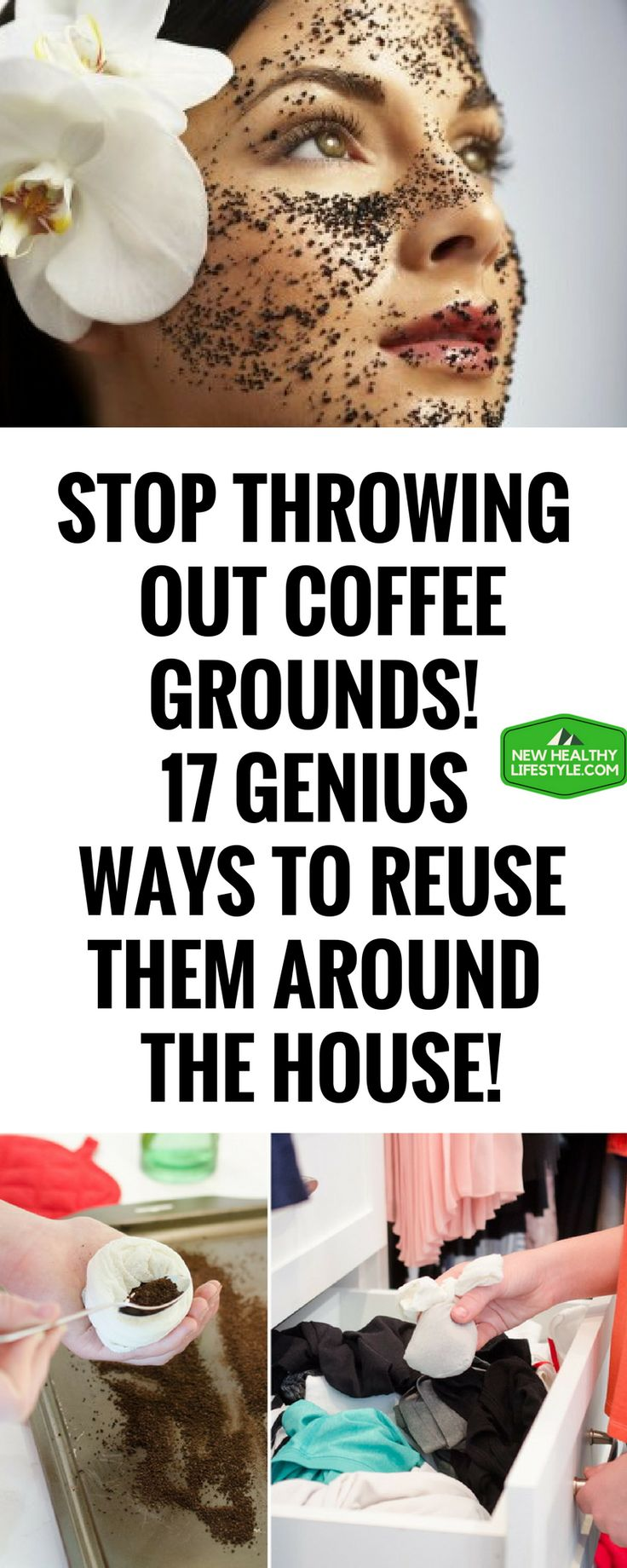 STOP THROWING OUT COFFEE GROUNDS! 17 GENIUS WAYS TO REUSE THEM AROUND THE HOUSE!{;}