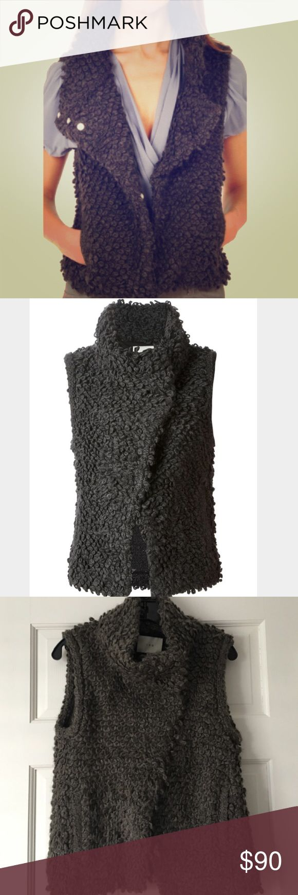 IRO Sweater Vest IRO Catleen Boucle Knit Vest - A chic stand collar and stylish fold-over lapel define a sumptuous boucle Vest softened with a touch of virgin book. Super comfortable  and warm!!  48% Acrylic/ 25% Wool/ 24% Cotton/ 3% Polyamide. 24' length. Size 6. IRO Jackets & Coats Vests