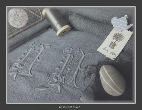linge ancien teinté,teinture grise,teindre le linge ancien