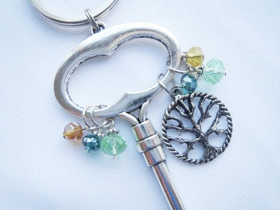 Tree of Life Silver Keyring Keychain  Circle Charmson by Thielen, $9.95