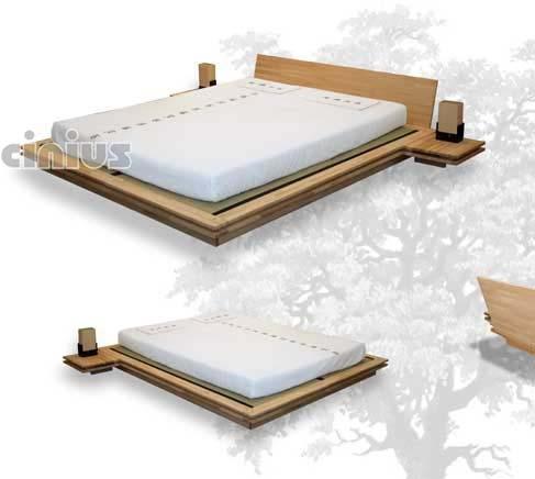 """TOKI - Il gusto tipicamente giapponese di questo letto, si esprime in uno straordinario gioco geometrico ad incastri. Toki è la struttura ideale per chi ama il """"letto basso""""."""