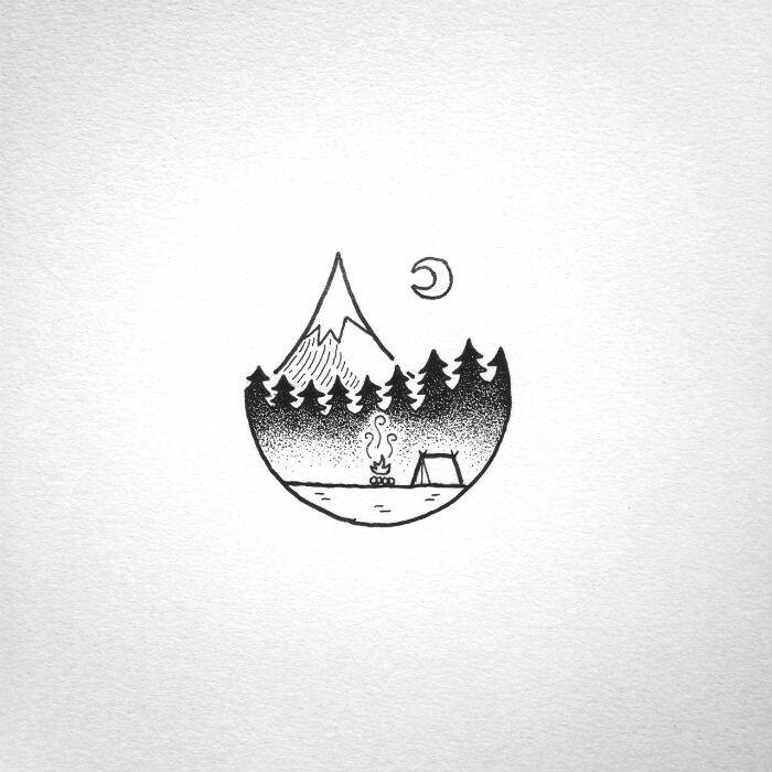 tattoo simple hiking camping drawings tattoos easy rollyn david doodle night doodles drawing adventuresofyoo last yet illustrations pen mountain desenhos