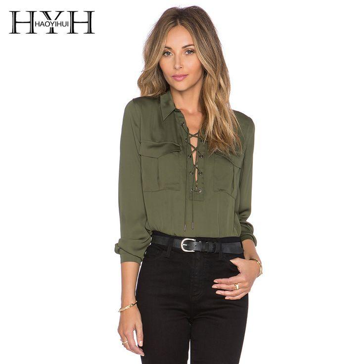 Hyh haoyihui 2016ブランドの新しい夏のファッションレディースオフィスシャツレーストップロングスリーブデザイナートップスアーミーグリーンフォーマルシャツ