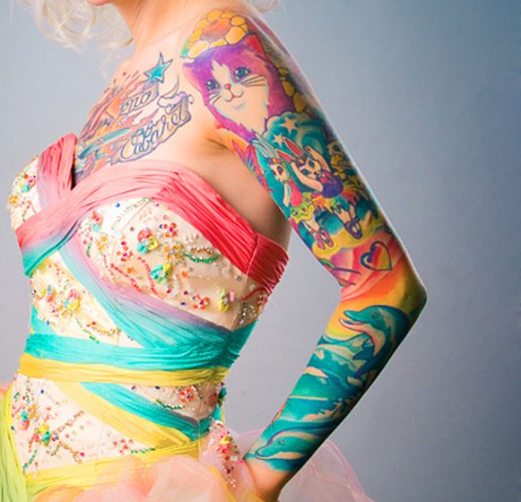 This ink proves that there's no longer a reason to buy Lisa Frank folders when you can just have all of the designs on your arm. | 27 Themed Tattoo Sleeves That Are Basically Works Of Art