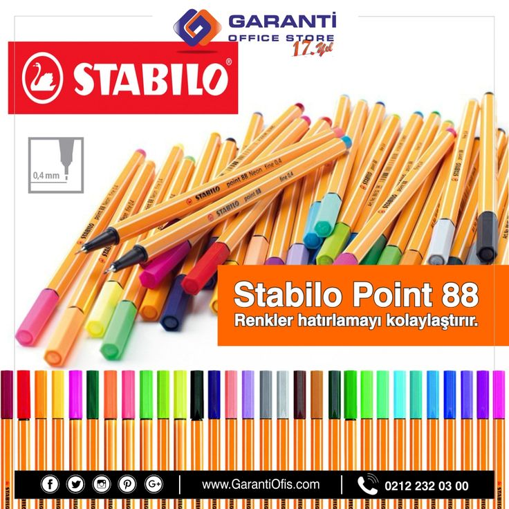 Hayal edebileceğinizden çok daha fazla renk seçeneği ile Stabilo Point 88 ince uçlu keçeli kalemlerini en uygun fiyatlarla GarantiOfis.com'dan sipariş verebilirsiniz!  #stabilo #stabilokalem #inceuclukalem #stabilopoint #stabilopoint88 #kecelikalem #garantiofis