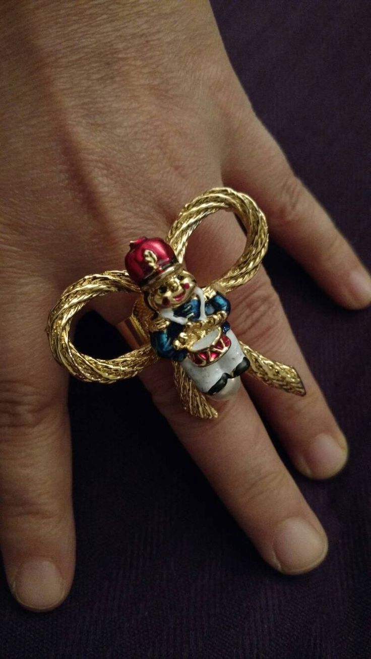 Toy soldier ring// adjustable// Xmas// upcycled//big ring // Xmas gift // gift for her //handmade// holiday cheer// gift for aunt