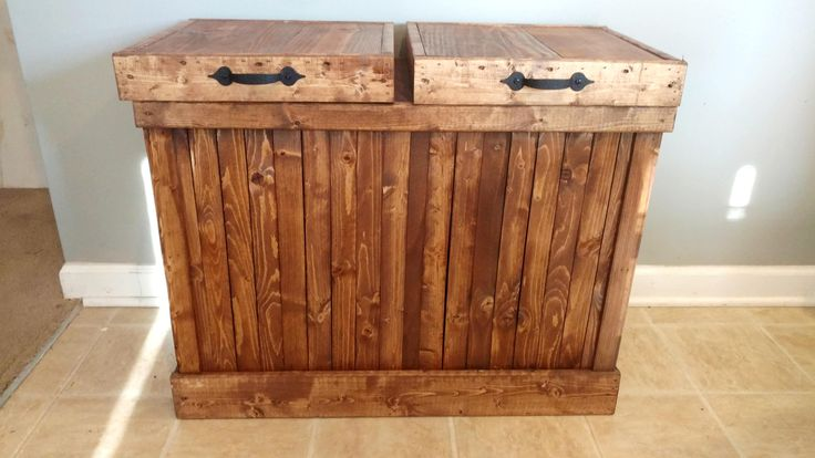 Recycling Bin, Double Trash Can, Double Garbage Can, Rustic Wood Trash Bin, Farmhouse Kitchen, Country Kitchen, Trash Can, Wood Trash Can by OurTwistedCreations on Etsy