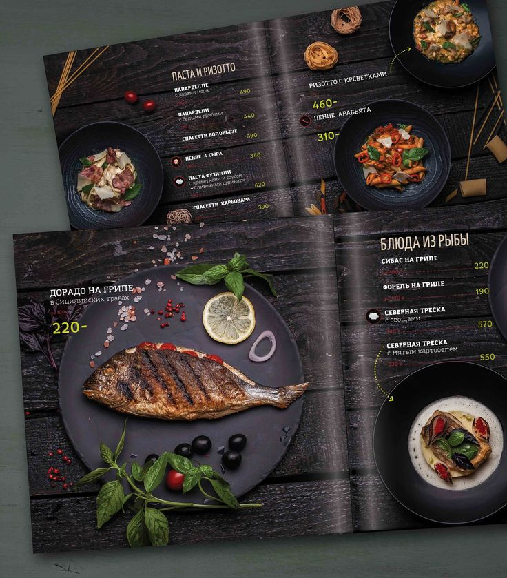 Photo & Design for restaurant menu in Italic style. Print menu. Food photo. Idea and food style