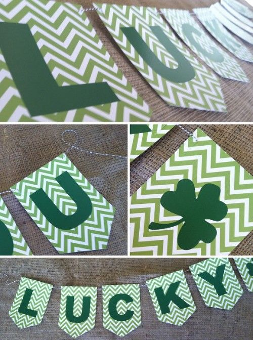 Green chevron St. Patrick's Day lucky banner. Free printable! Would look so cute on a mantle. So cute!