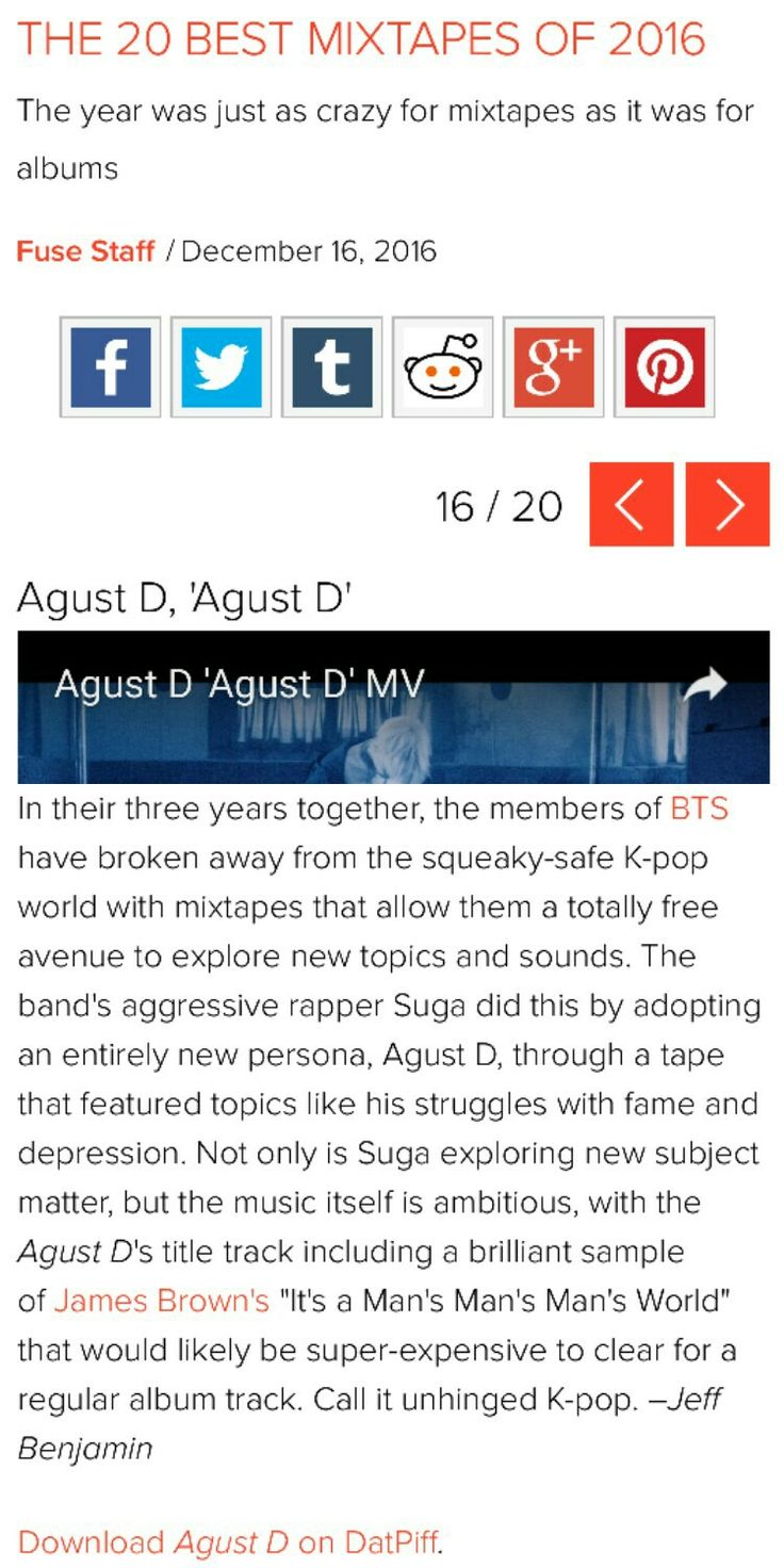 Agust D is in Fuse TVs 'The 20 Best Mixtapes of 2016'!!! ❤ (Agust D aka SUGA aka 민윤기 did that! He is no.16 on the the list. The list is not ranked. Check out the article here: fuse.tv/2016/12/best-mixtapes-of-2016-hip-hop) #BTS #방탄소년단