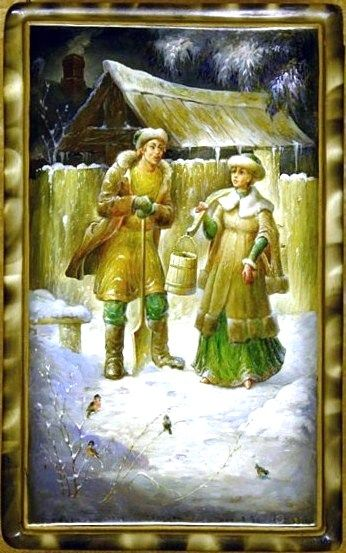 Russian lacquer miniature from the village of Fedoskino. A village couple in the snowy street.